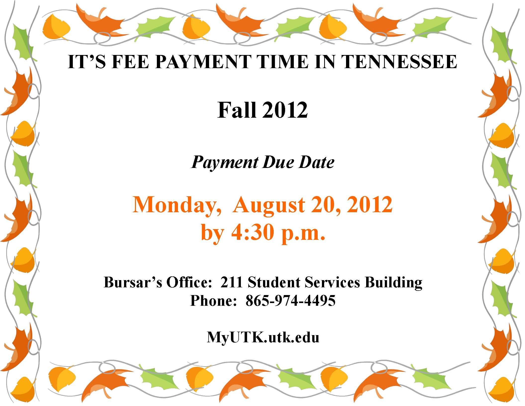 Reminder About Fee Payment Due Date